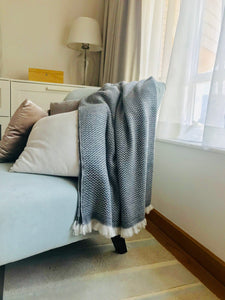 Nepalese Cashmere Blanket in Charcoal Grey