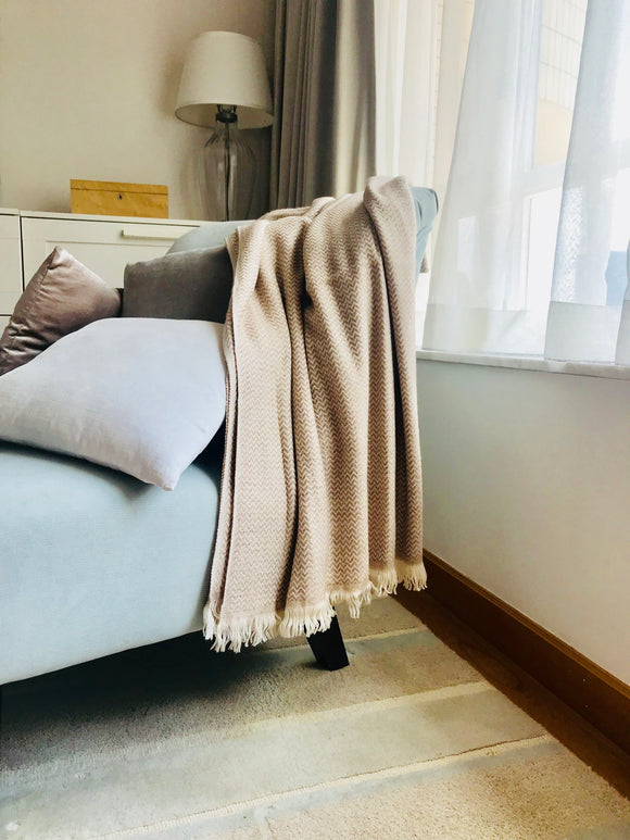 Nepalese Cashmere Blanket in Caramel