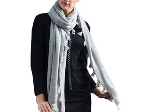 Knitted Cashmere Tassel Scarf Light Grey