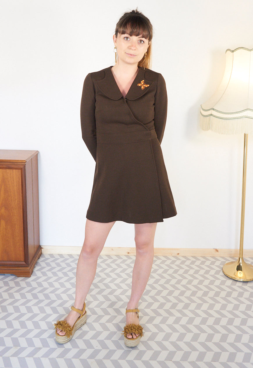Annabell - Vintage Mini Dress in Brown - Staying Alive Vintage