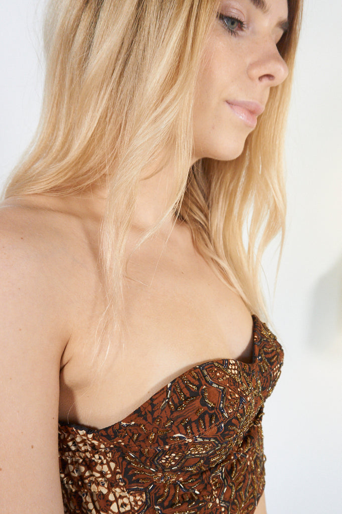 Sarah- Brown Beaded Strapless Festival Bralet - Staying Alive Vintage
