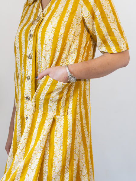 Saffron- Vintage Paisley Midi Dress in Yellow - Staying Alive Vintage