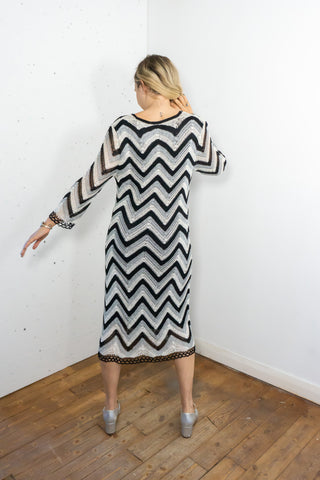 Mandy - Vintage Zig Zag Crochet Dress - Staying Alive Vintage
