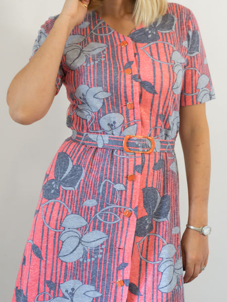 Suzanne - Vintage 70's Retro Dress in Pink and Blue - Staying Alive Vintage