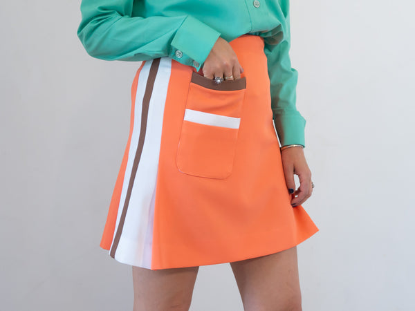 Raspberry Coconut - Vintage Retro Mini Skirt in Orange and White - Staying Alive Vintage