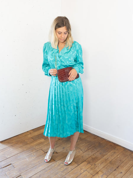 Turquoise - Vintage 60's Floral Midi Dress in Turquoise - Staying Alive Vintage