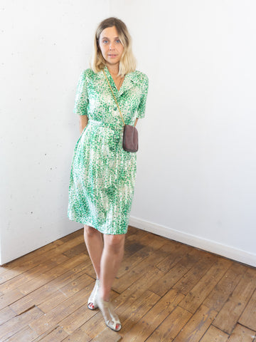Water Lily Vintage 80's Midi Dress in Green with matching Belt - Staying Alive Vintage