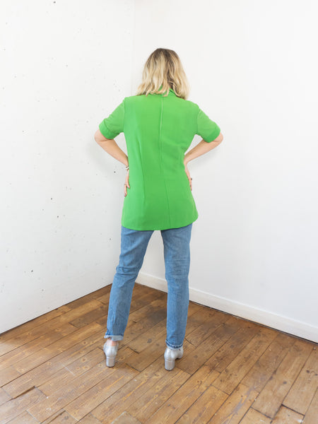 Shamrock- Vintage 70's Turtle Neck Blouse in Green with Short Sleeves - Staying Alive Vintage