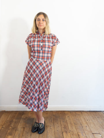 Matilda - Vintage Summer Dress in Red and Blue with Checked Pattern - Staying Alive Vintage