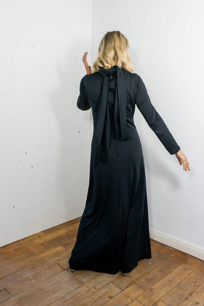 Angel - Vintage Maxi Dress in Black with Scarf - Staying Alive Vintage