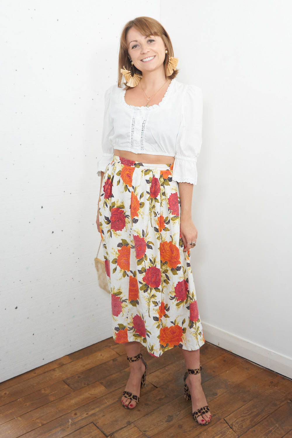 Lolita - Vintage Floral Maxi Skirt in White, Pink and Orange - Staying Alive Vintage