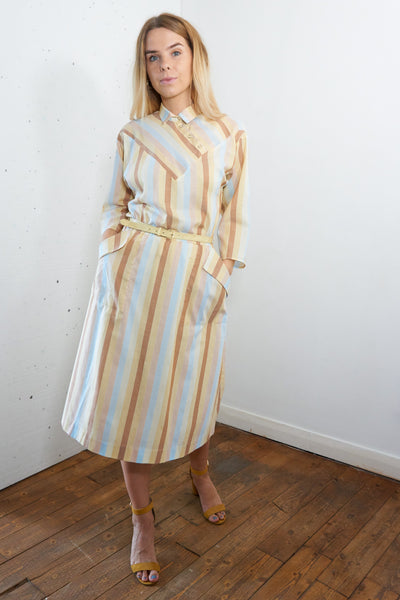 Neapolitan Vintage  Summer Mini Dress in Cream, Brown and Blue - Staying Alive Vintage