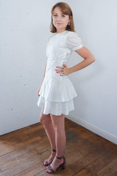 Celia - Vintage 60s Metallic Mini Dress in White and Gold - Staying Alive Vintage