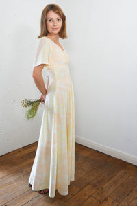 Peach Cobbler Vintage Floral Maxi Dress in Cream, Yellow and Orange - Staying Alive Vintage