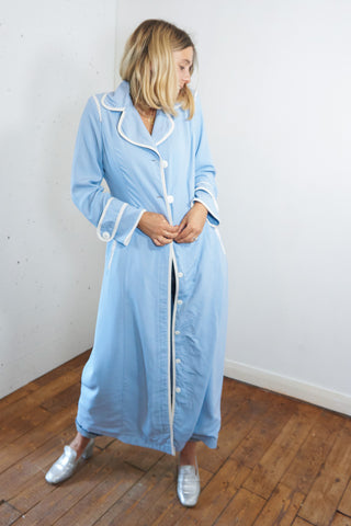 Baby blue - Vintage 90s Maxi Dress in Blue with White Buttons - Staying Alive Vintage