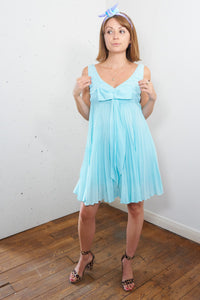 Aquamarine- vintage 60's Summer Mini Dress Blue with Front Bow - Staying Alive Vintage