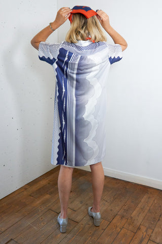 Camaret - Vintage Summer Midi Dress in White and Blue - Staying Alive Vintage