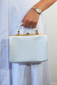 Amanda - Vintage Faux Animal Skin Handbag in White and Gold - Staying Alive Vintage