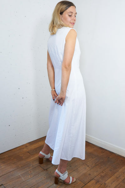 Pornichet - Vintage 90's Maxi Summer Dress in White with Lace Detail - Staying Alive Vintage