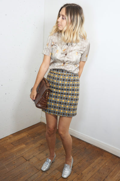 Jean - Vintage 70's Retro Wool Mini Skirt  in Yellow and Brown - Staying Alive Vintage
