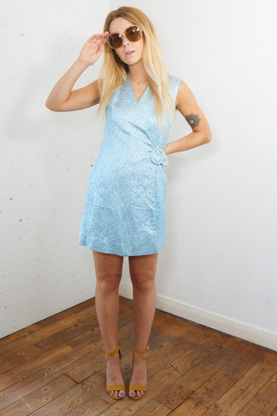 Bibiana - Vintage 60s Metallic Wraparound Dress in Blue - Staying Alive Vintage