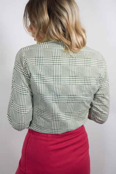 Mae - Vintage 70's Retro Blouse in Green and Beige - Staying Alive Vintage