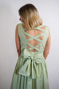 Tea Green - Vintage Summer Midi Dress in Green with Embroidery Detail - Staying Alive Vintage