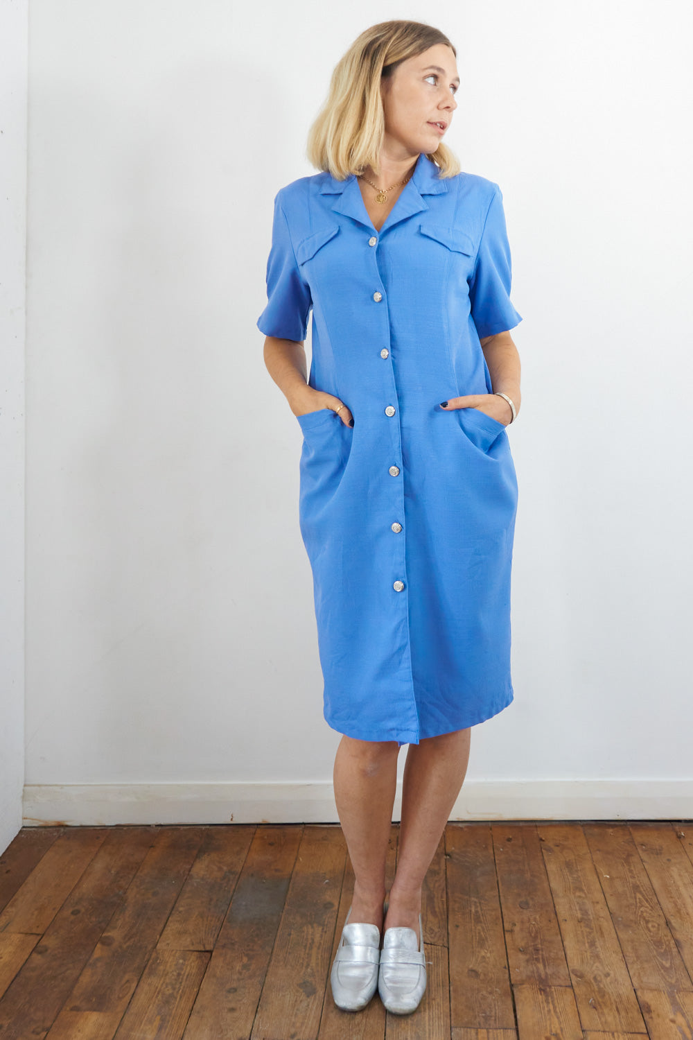 Nice - Vintage 60's Midi Dress in Blue with Silver Buttons - Staying Alive Vintage