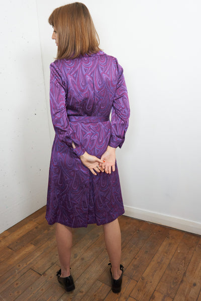 Tammy - Vintage 70's Retro Midi Dress in  Electric Purple - Staying Alive Vintage