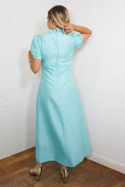 Cyan - Vintage Maxi Dress in Blue with Gold Embellishment - Staying Alive Vintage