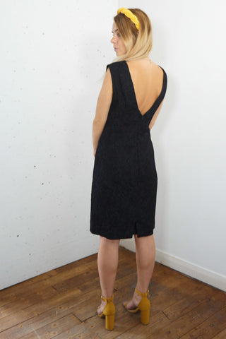 Frida - Vintage Going out Midi Dress in Black with Plunge Back - Staying Alive Vintage