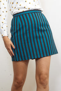 Annie - Vintage 70's Striped Retro Skirt in Blue and Black - Staying Alive Vintage