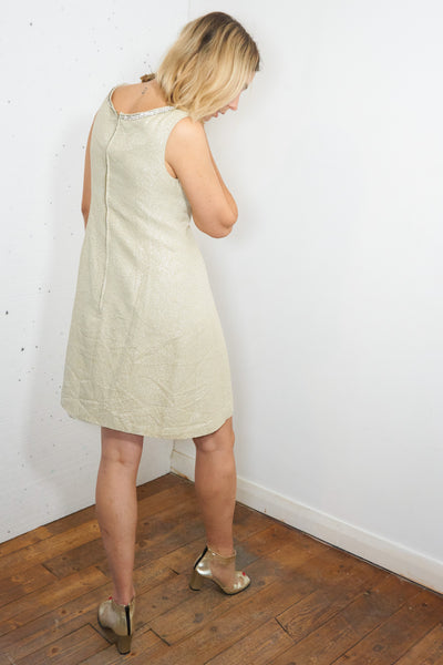 Eva- Vintage 60s Sparkly Midi Dress in Cream with Diamante Detail - Staying Alive Vintage