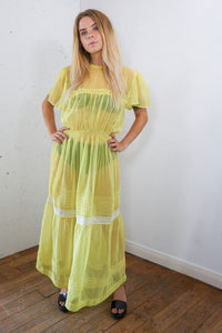 Gabriella - Vintage Summer See-through Chiffon Maxi Dress in Yellow - Staying Alive Vintage