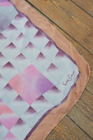 Julia - Vintage Geometric Scarf in Pink and White - Staying Alive Vintage