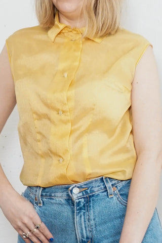 Cassia - Vintage Sparkly Top in Yellow - Staying Alive Vintage