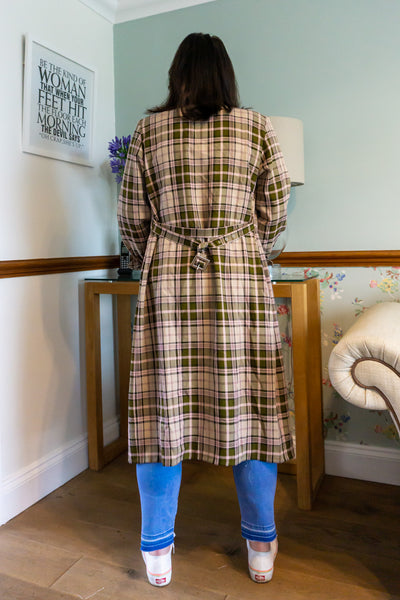 Flora - Vintage Checked Wrap Around Midi Dress in Pink and Green - Staying Alive Vintage