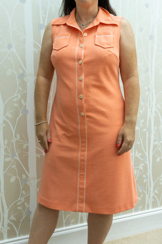 Amelia - Vintage 60s Button Down Midi Dress in Salmon
