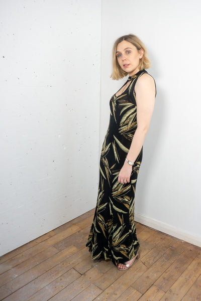 Angel - Vintage Cocktail Maxi Dress in Black and Gold - Staying Alive Vintage