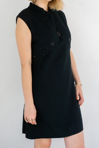 Solice - Vintage Black Embellished Round Neck Dress - Staying Alive Vintage