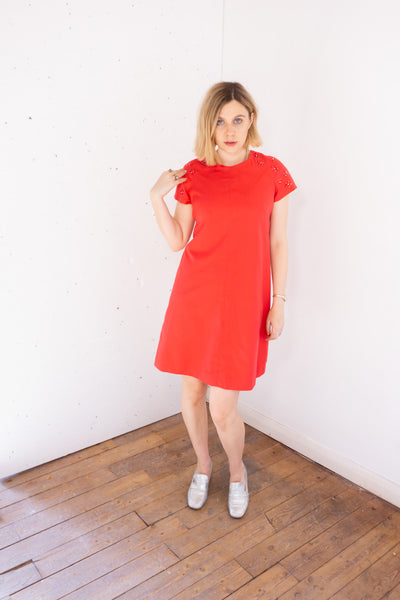 Katrina - Vintage Midi Dress in Red with embellishment - Staying Alive Vintage