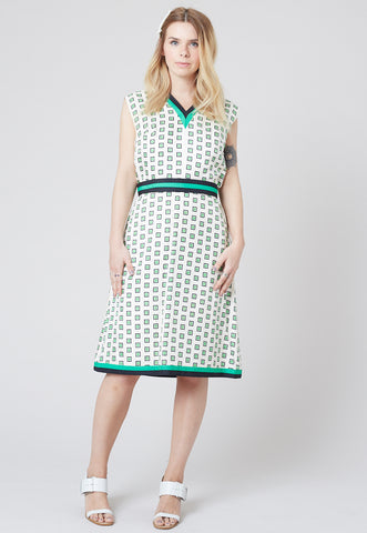 Emma - Geometric patterned two-tiered dress - Staying Alive Vintage