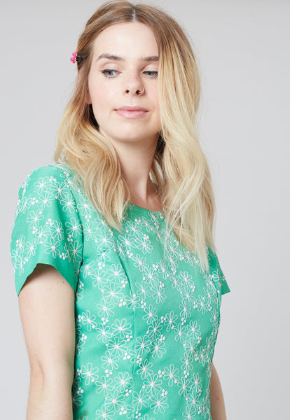 Esme -  Green dress with white floral embroidery - Staying Alive Vintage