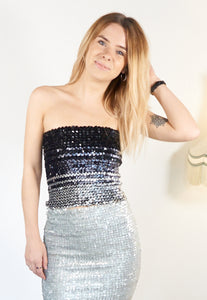 Lexi - Vintage Black & Silver Glittery Festival Tube Top - Staying Alive Vintage