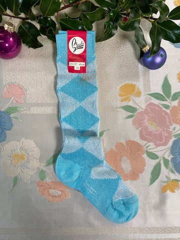 Sofia - Vintage 70s Retro Two Tone High Socks in Blue