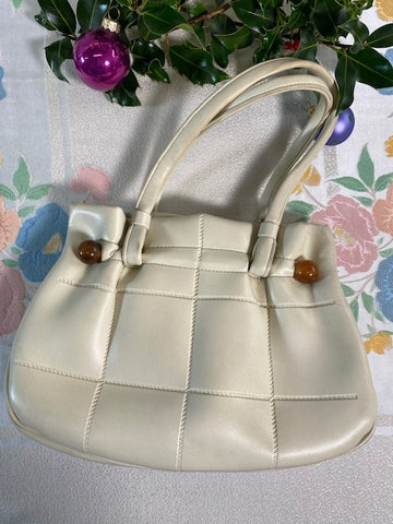 Clara - Vintage Cushioned Leather Handbag in Cream with Pearl