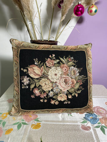 Sophie - Vintage Floral and Green Velvet Double Sided Cushion