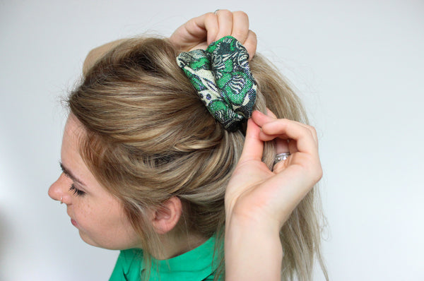 Mystical Forest - Vintage Sparkly Scrunchy in Green - Staying Alive Vintage