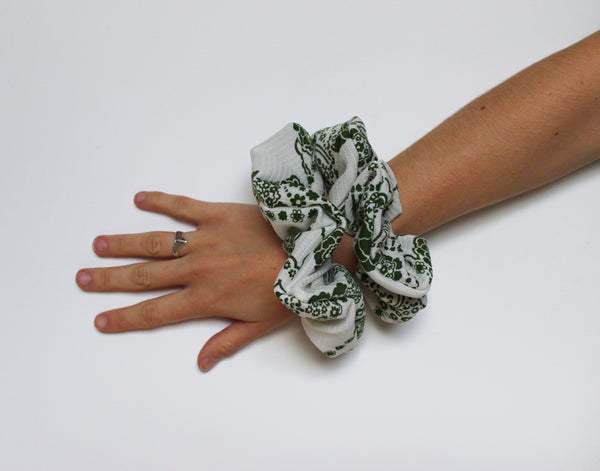 Meadow - Vintage Scrunchy in White with Green Floral Print - Staying Alive Vintage