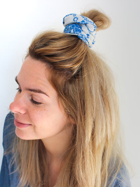 Ocean Breeze - Vintage Scrunchy in White with Blue Floral Print - Staying Alive Vintage
